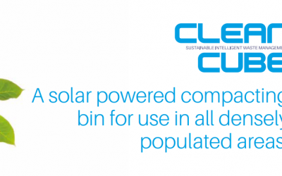 Clean Cube, the solar powered compacting bin